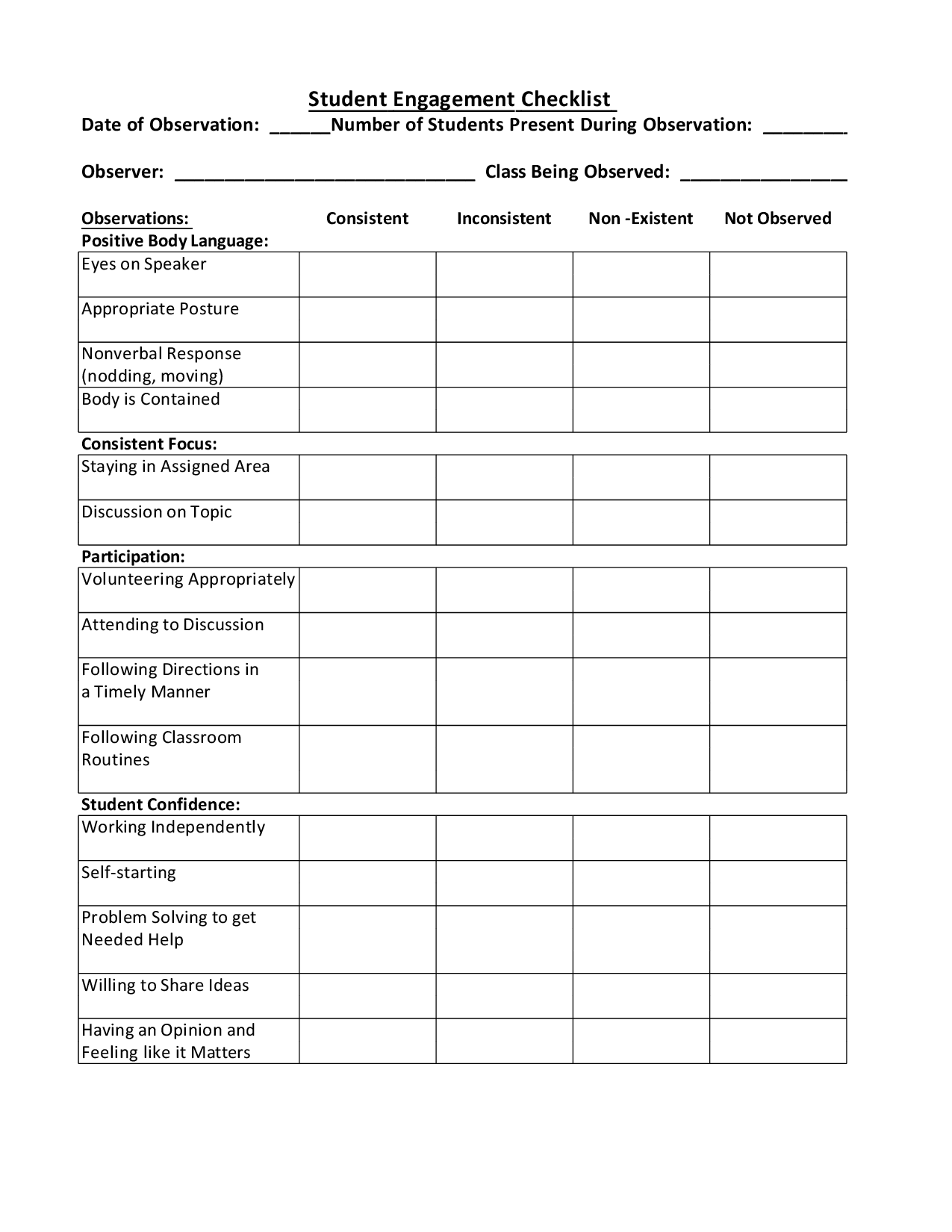 Student Engagement Observation Checklist
