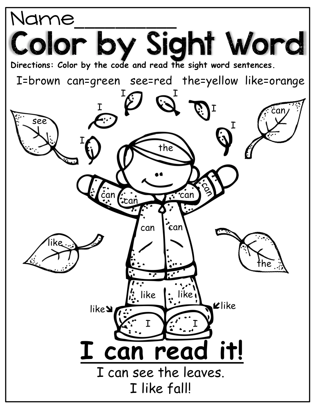 Color By Sight Word Fall Style