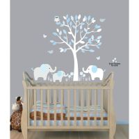 Baby Nursery Decor, Elephants Below Beautiful Tree Baby
