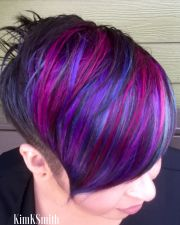 multi colored short hairstyles