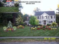 Large flower bed for front yard. Evergreen, shrubs ...