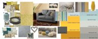 Mustard, Grey, Blue living room.