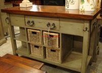 Black Vintage Distressed Kitchen Island Cottage Distressed