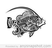 fish paper cut line art animals