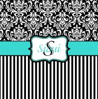Tiffany Blue, Black and White Damask Shower Curtain ...