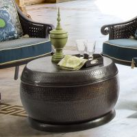 Bombay Outdoors Madras Hammered Bronze Drum Coffee Table ...