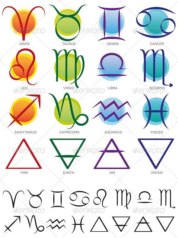 Zodiac & Elements Sign And Symbol Set  Earth Google