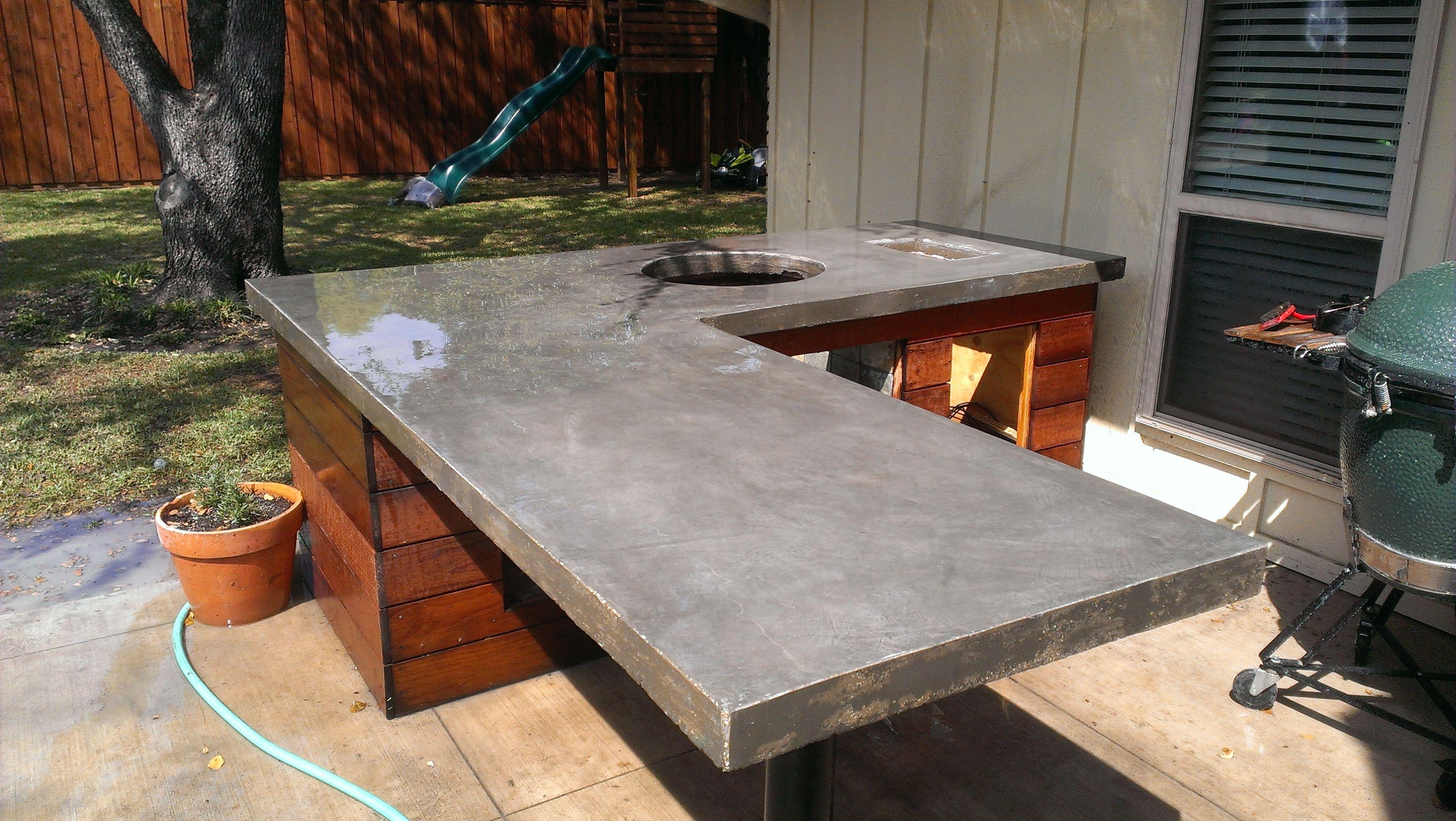 poured concrete outdoor kitchen countertops  Google