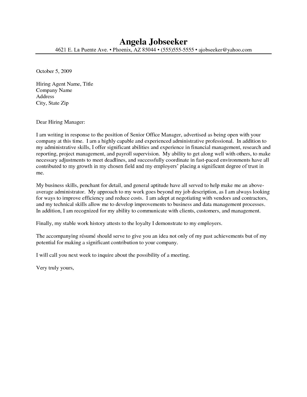 Example Of Cover Letters For Resumes Administrative Assistant Resume Cover Letter Http