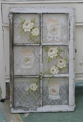Add lace and roses flowers to vintage old salvaged window for shabby cottage style home decor also rh pinterest