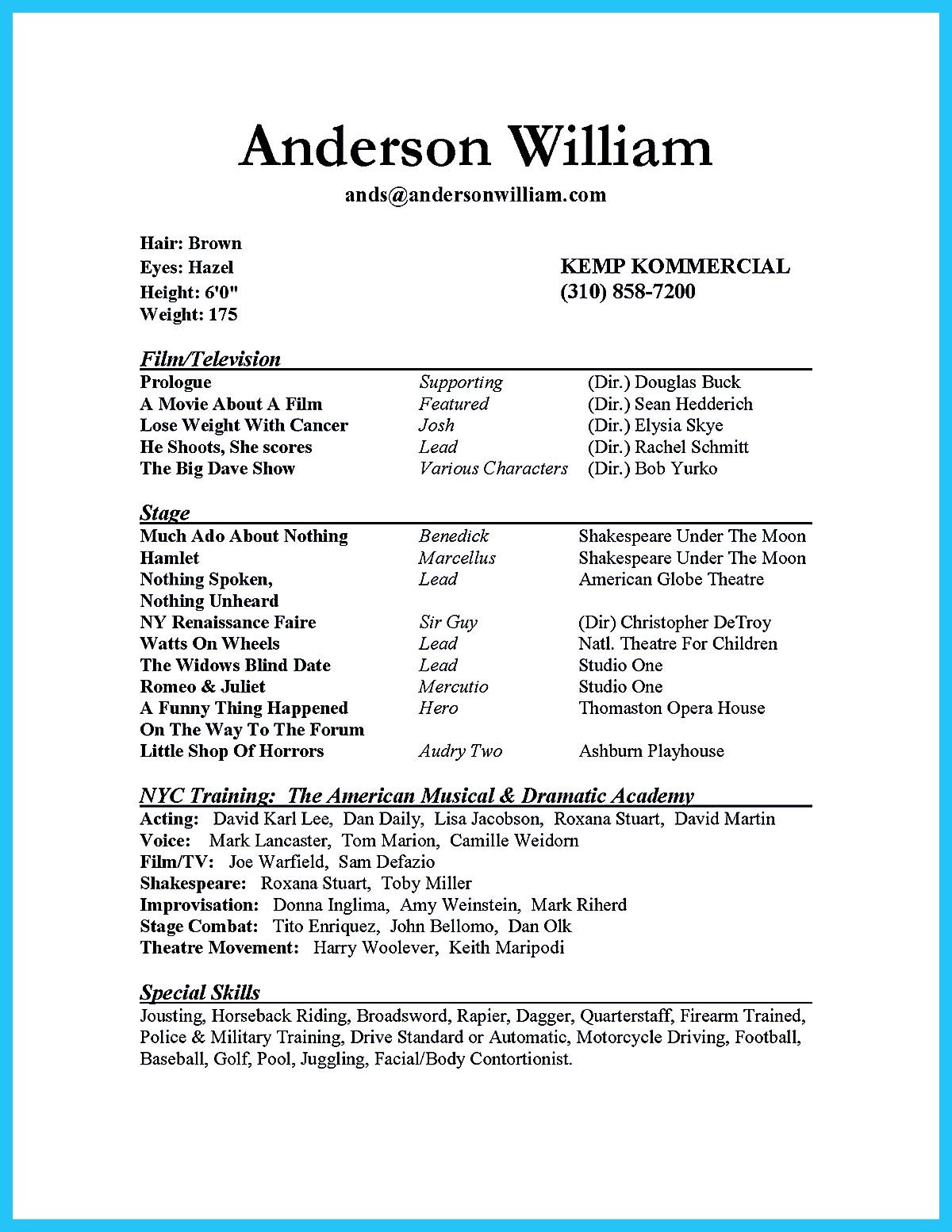 Actor Resume Example Actor Resume Sample Presents How You Will Make Your