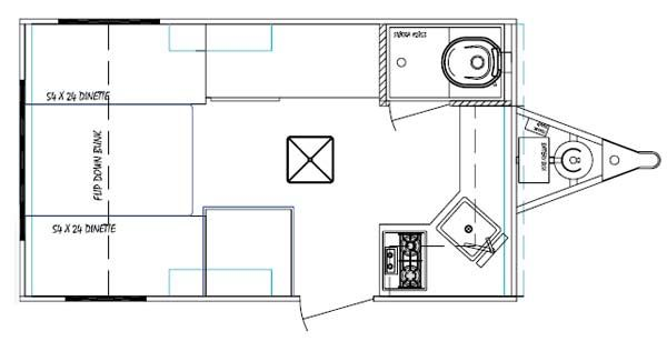 Serro Scotty Tonga small travel trailer floorplan- love it