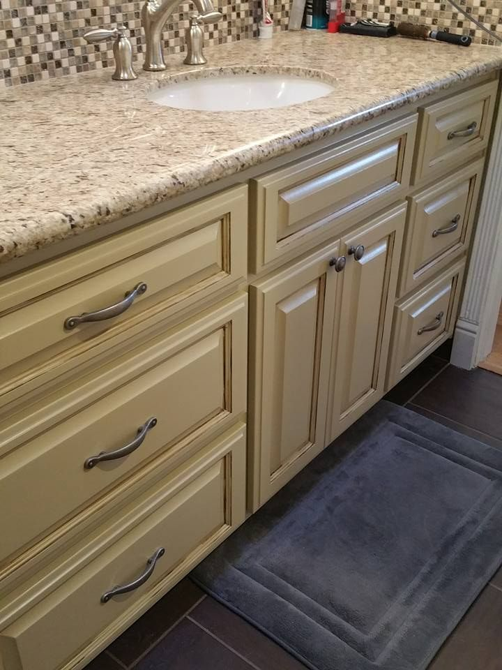 Master bath cabinets done in General Finishes Millstone