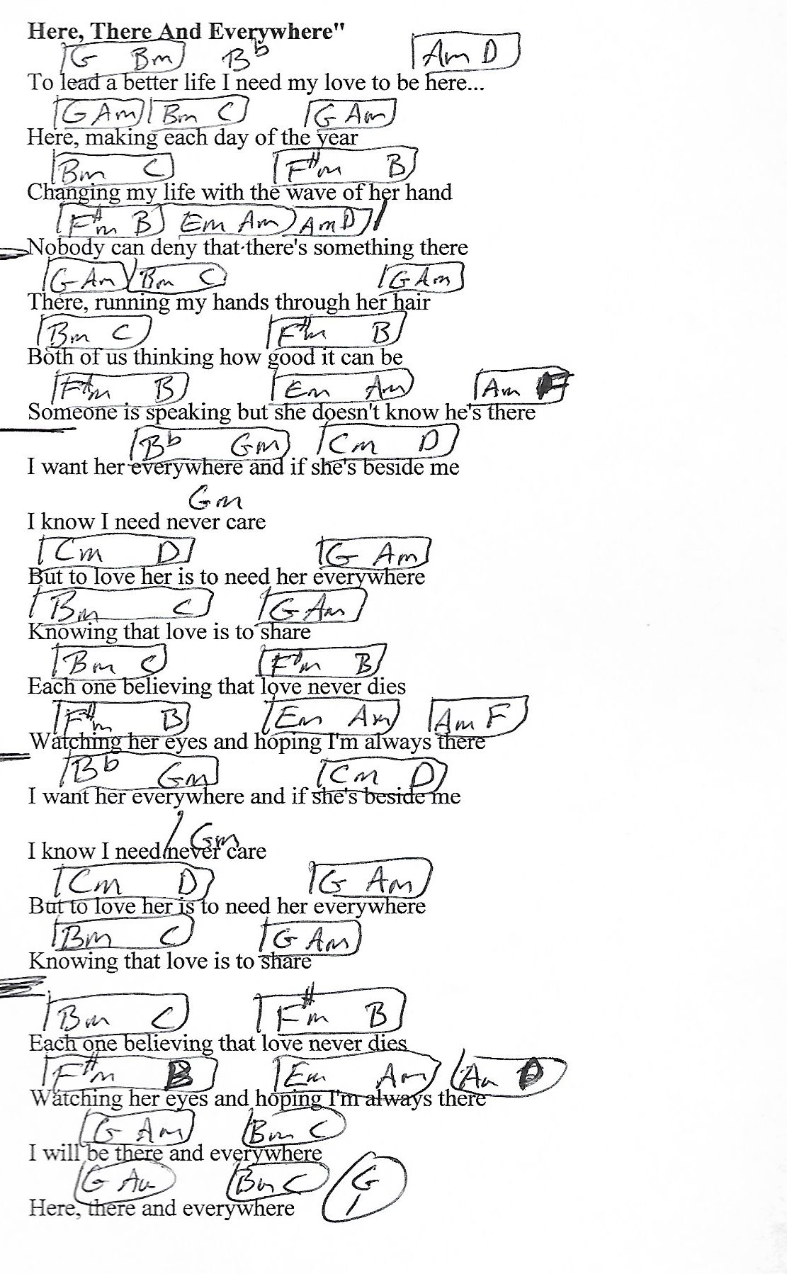 Here, There and Everywhere (Beatles) Guitar Chord Chart