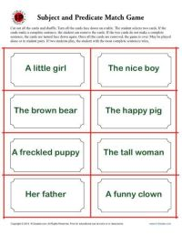 Subject and Predicate Match Game | Worksheets, Activities ...