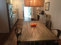 barndoor kitchen table with tabouret chairs ; retrofitted ...