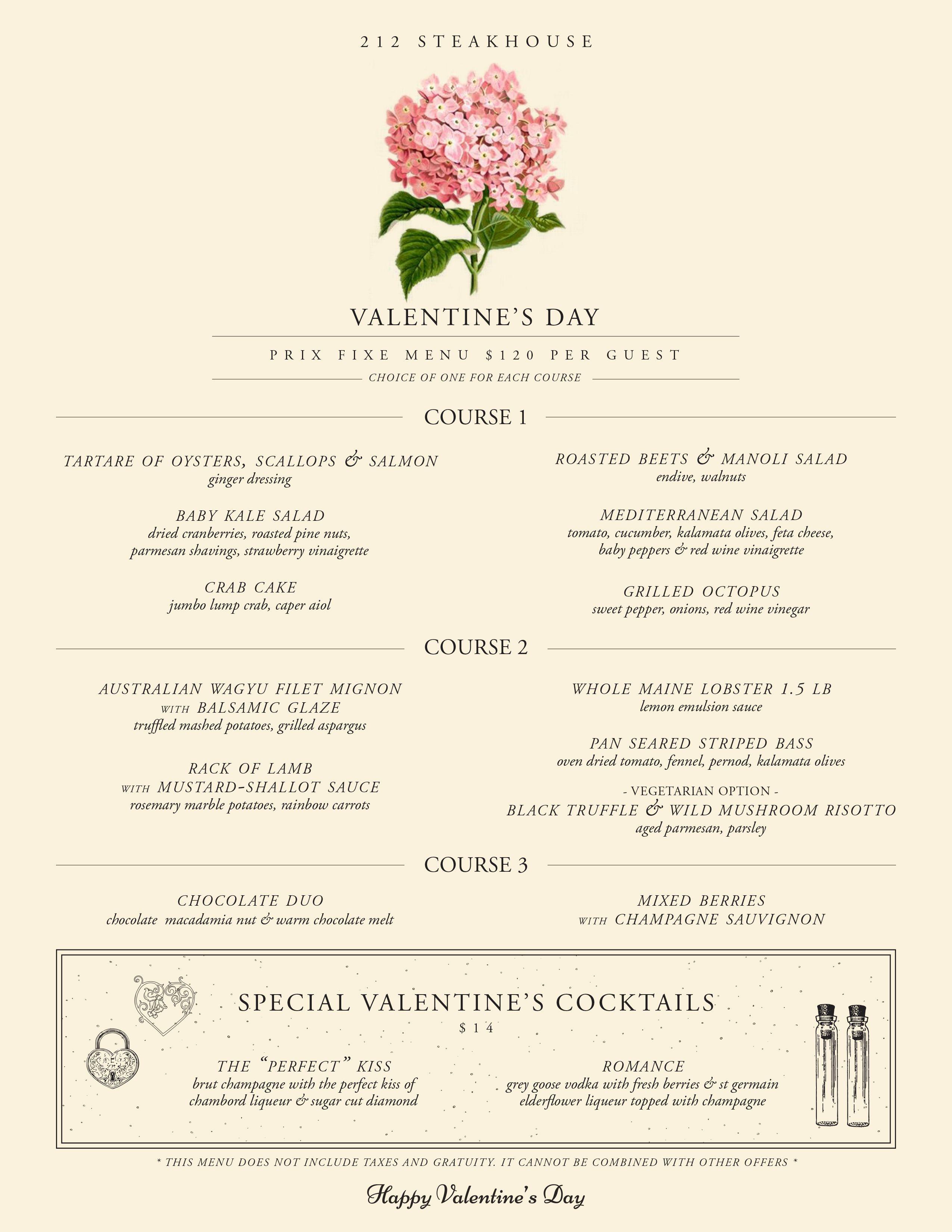 212 Steakhouse Valentine's Day Prix Fixe Menu 2016 Menu Ideas