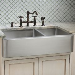 Stainless Steel Farmhouse Kitchen Sink Cabinets Seattle Hazelton 60 40 Offset Double Bowl