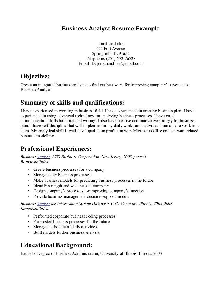 Business Resume Objective Examples