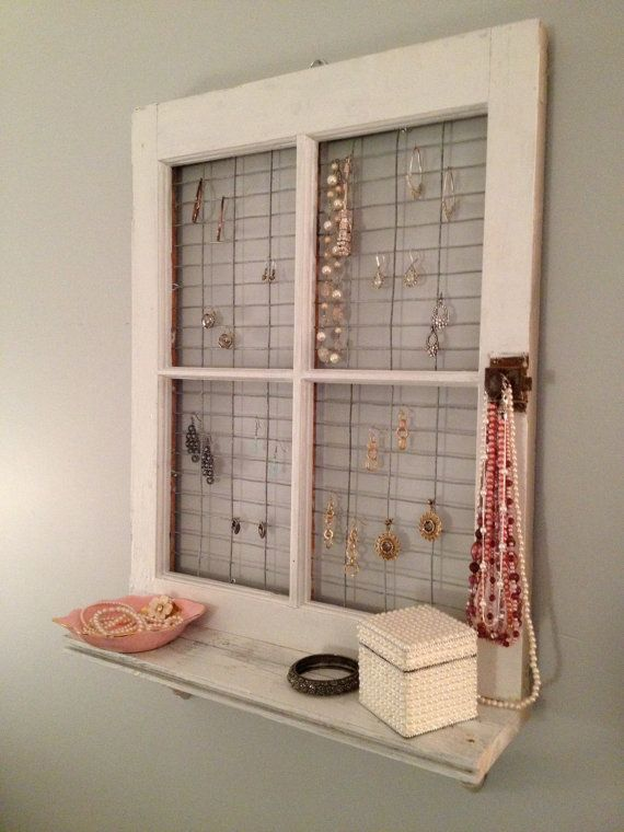 Vintage window frame and shelf wall decor by asisrepurposeditems also rh pinterest