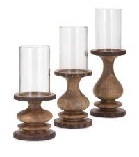 IMAX Nakato Wood Bark Candle Holders - Set of 3 | Wood ...