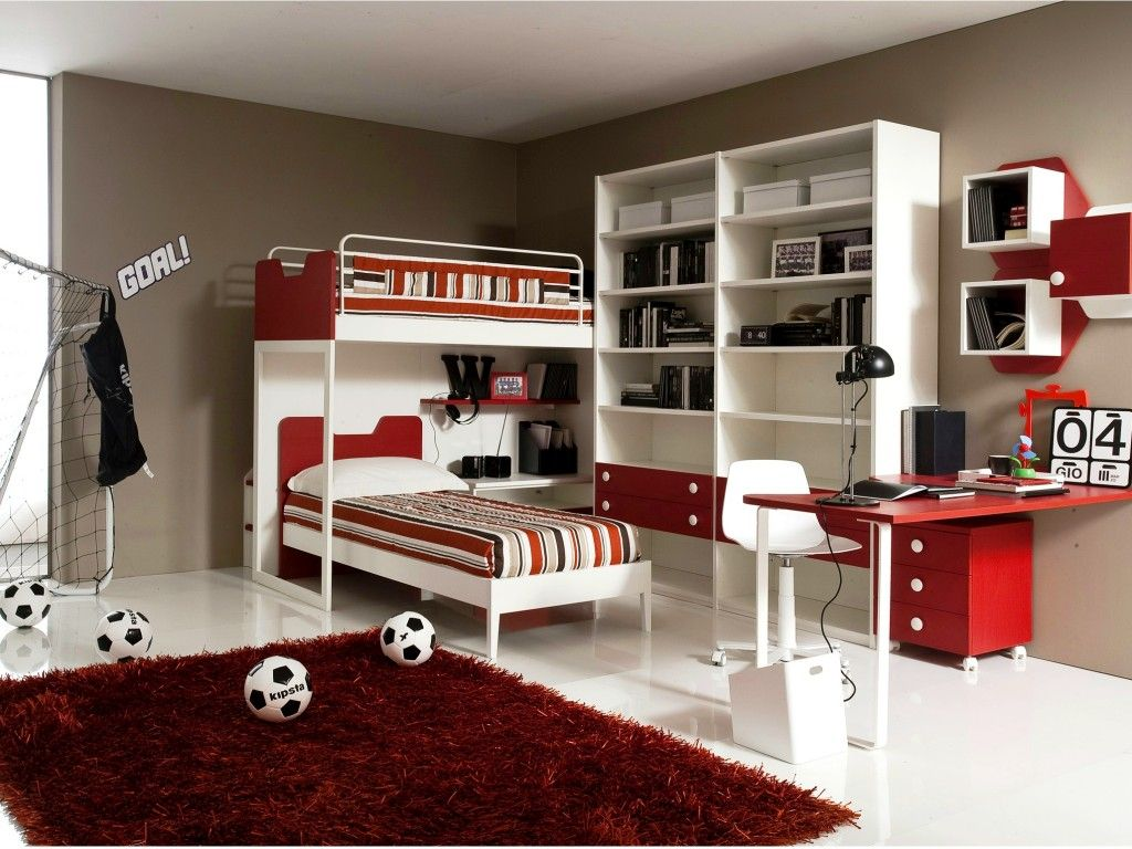 Amazing Shared Teen Bedroom Design For Boys Showing White