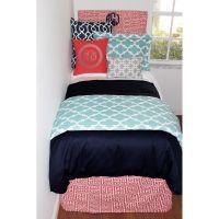 Preppy Gray Dorm Room Bedding | Coral aqua, Girl dorms and ...