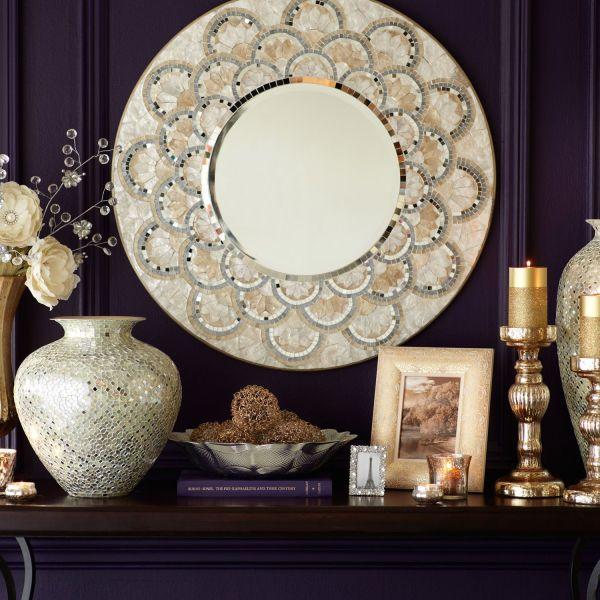 "Capiz & Mirrored Tile 32"" Mirror Engineered Wood"