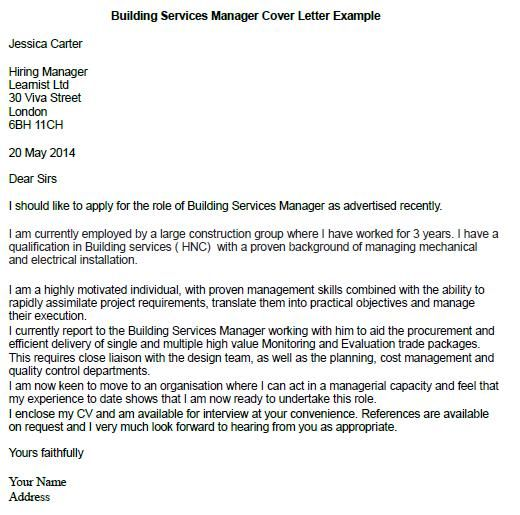 Building Services Manager Cover Letter Example  for