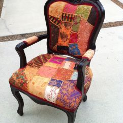 Tub Fabric Accent Chair Patchwork Stand Up Desk High Fab Boho Chic Arm From Lemonaider On Etsy