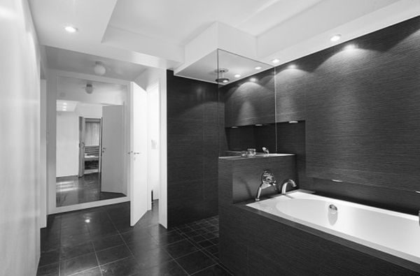 Beauteous Black And White Bathroom Decor Concepts With Rectangular Tub Tile Bath
