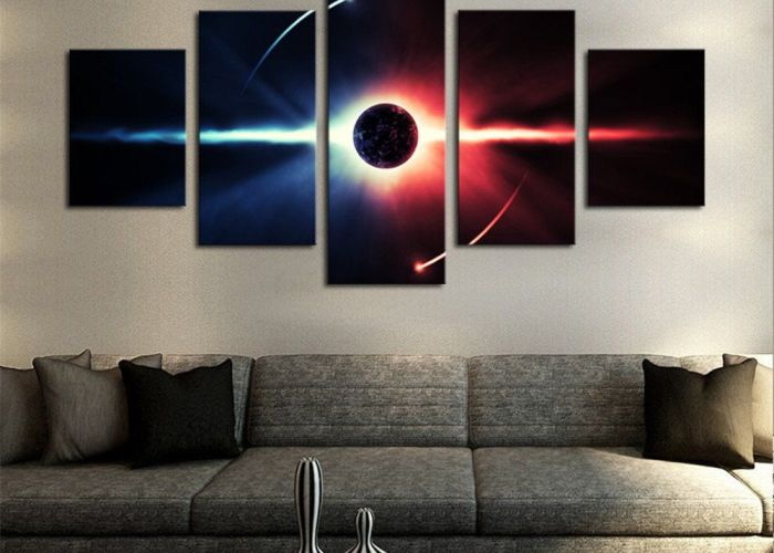 piece large hd abstract planet canvas print painting for living room wall art picture also
