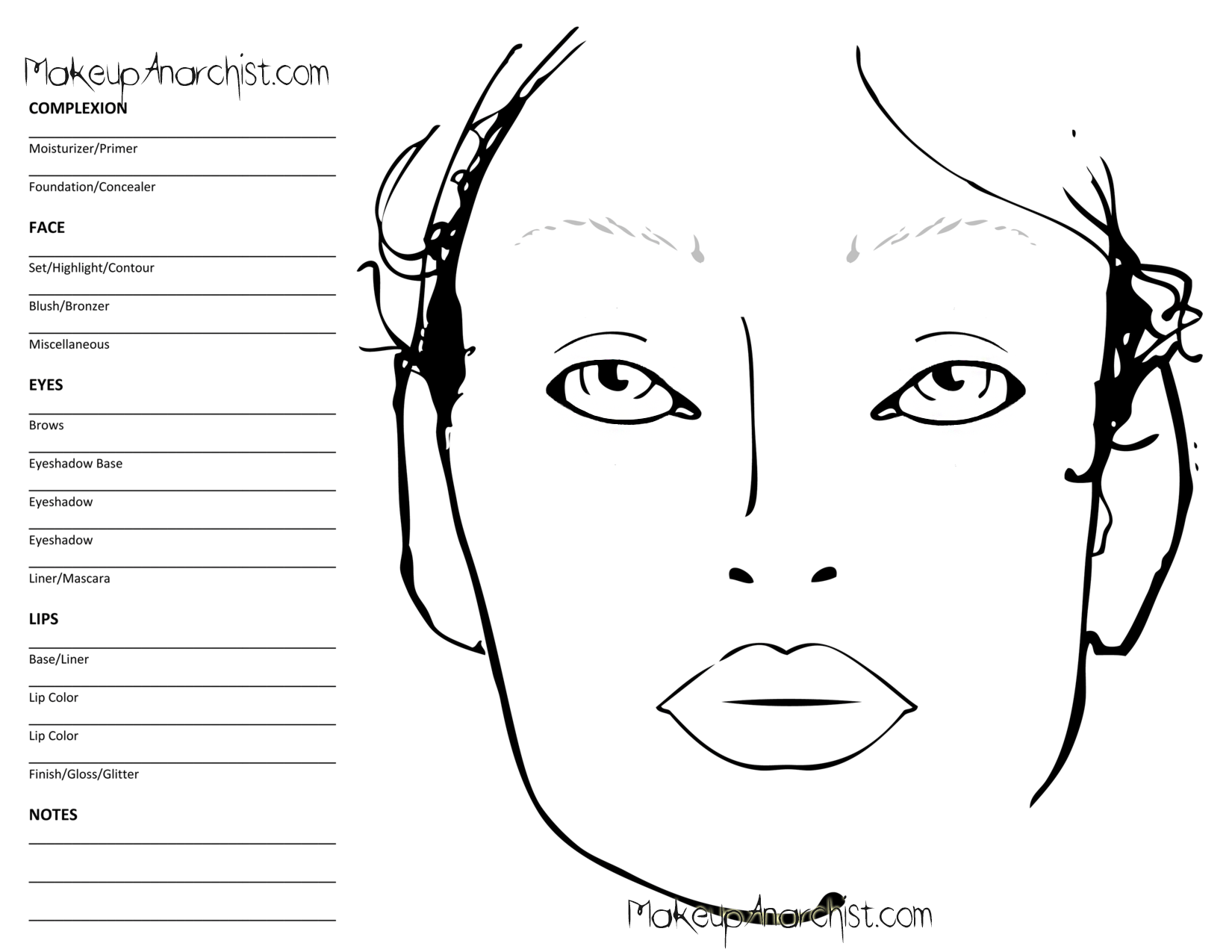 blank face diagram botox baseball diamond printable charts for makeup vidalondon