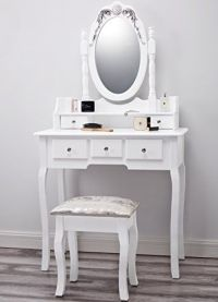 Capri AGTC0010 White Dressing Table with Stool & Mirror ...