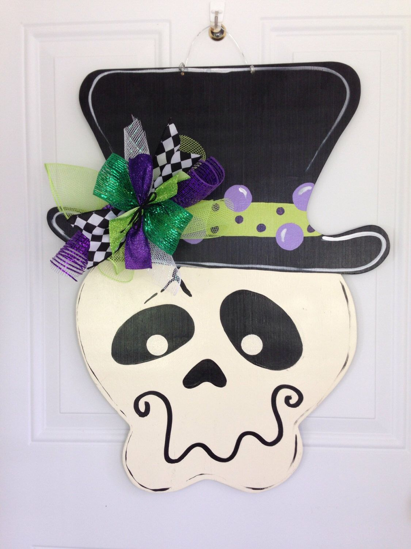 Halloween door hanger,Skeleton door hanger,Witch hat door