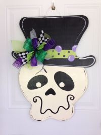 Halloween door hanger,Skeleton door hanger,Witch hat door