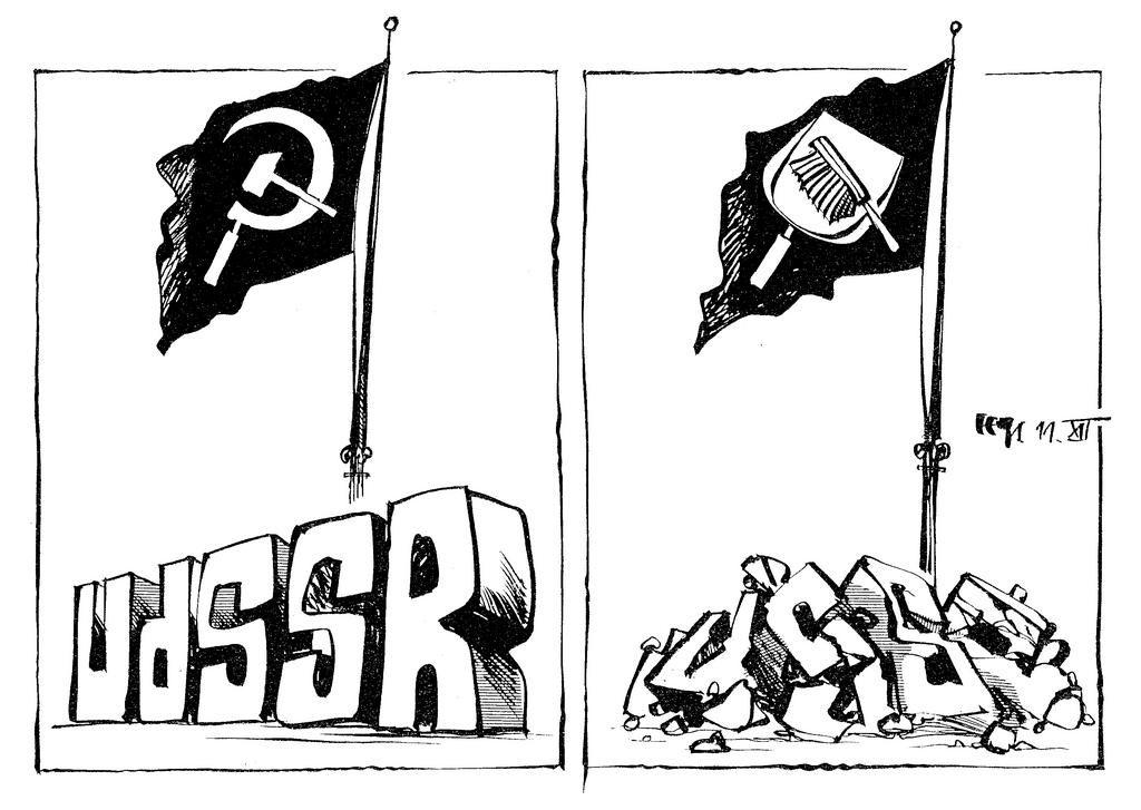 Cartoon by Haitzinger on the demise of the Soviet Union