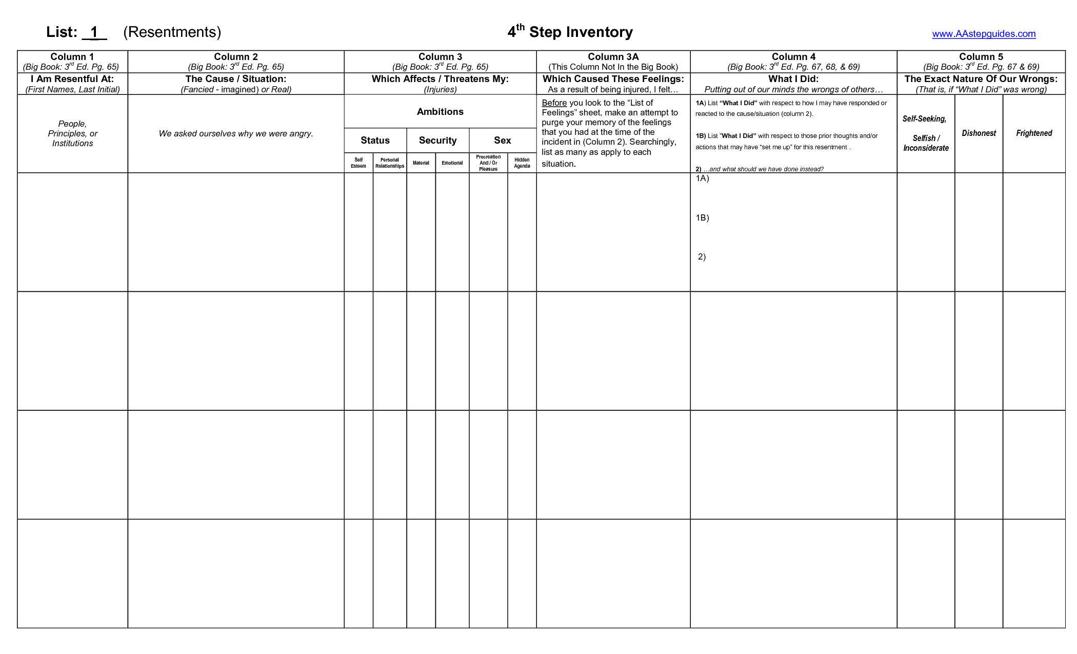 Celebrate Recovery Lesson 9 Worksheet