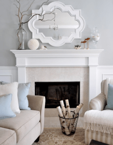Chic living room design with gray walls paint color casbah mirror painted white fireplace also rh pinterest