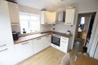 Kitchen, oak worktop, cream gloss units, B&Q | Decoracin ...