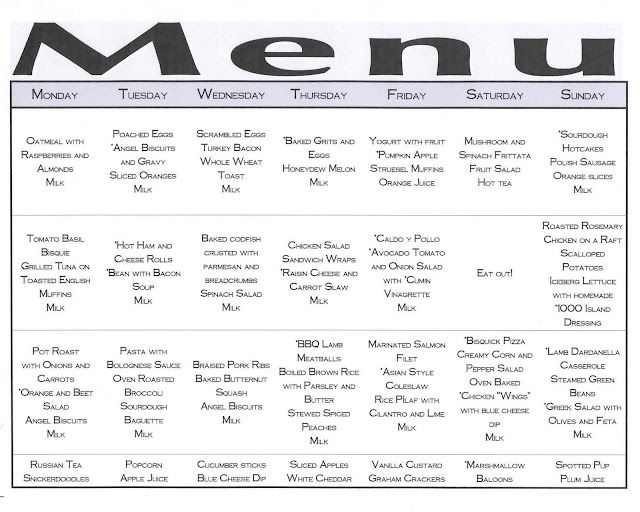 A week's menu at a glance Items marked with an * have