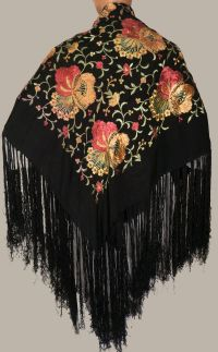 Vintage Spanish Floral Embroidered Silk Shawl | Vintage ...