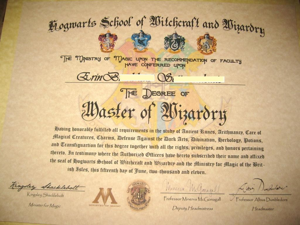 Make Your Own Harry Potter Hogwarts Diploma Acceptance
