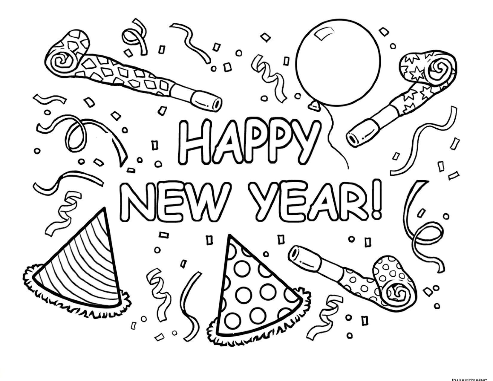 Happy new year coloring pages to download and print for