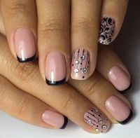 Two-colors Nail Design | Black french nails, French nails ...