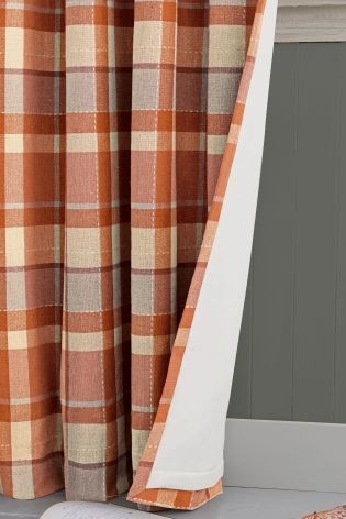 Ginger Rustic Woven Check Eyelet Curtains With Thermal Lining