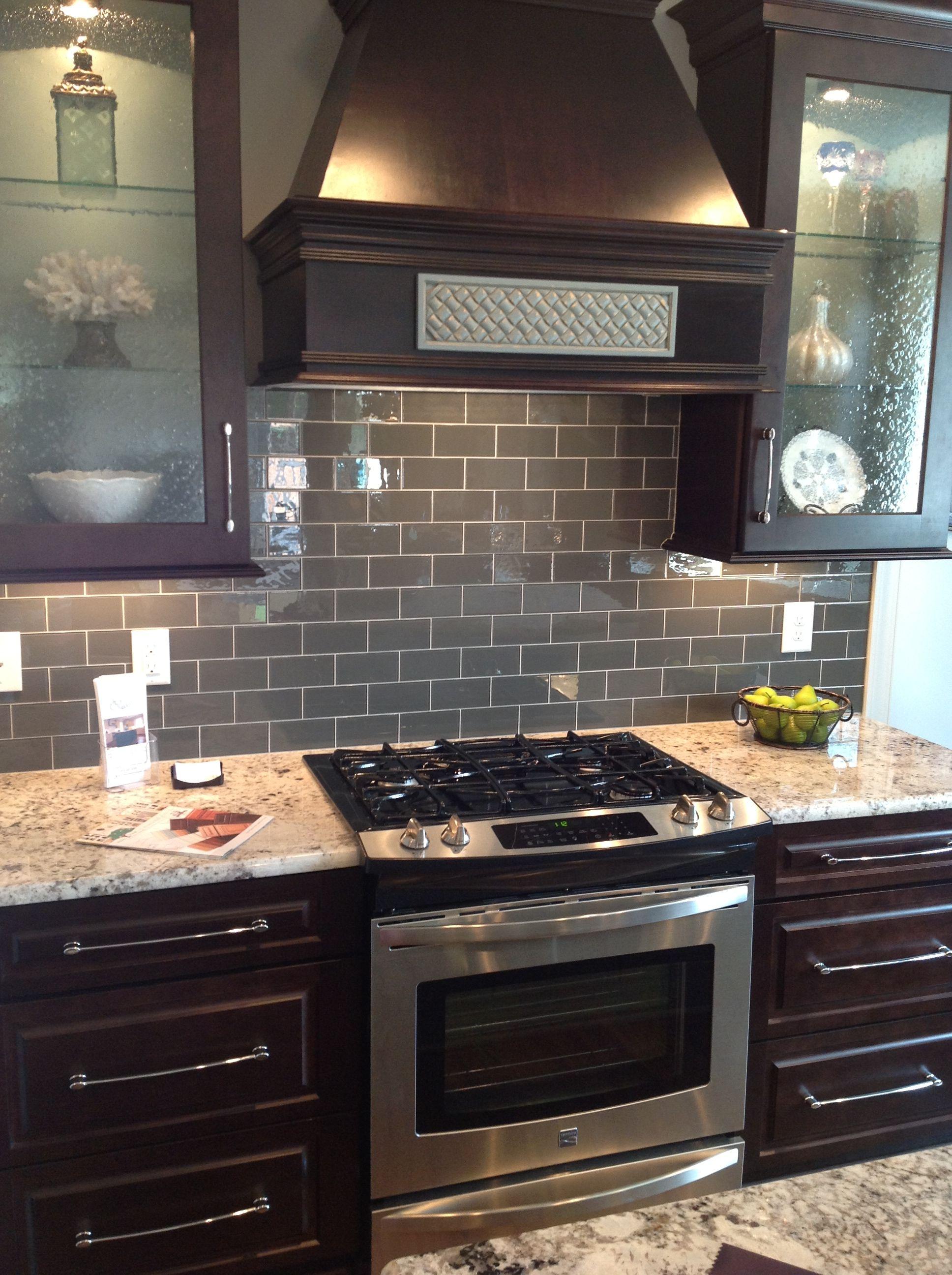 gray kitchen backsplash cabinets knoxville tn ice glass subway tile dark brown