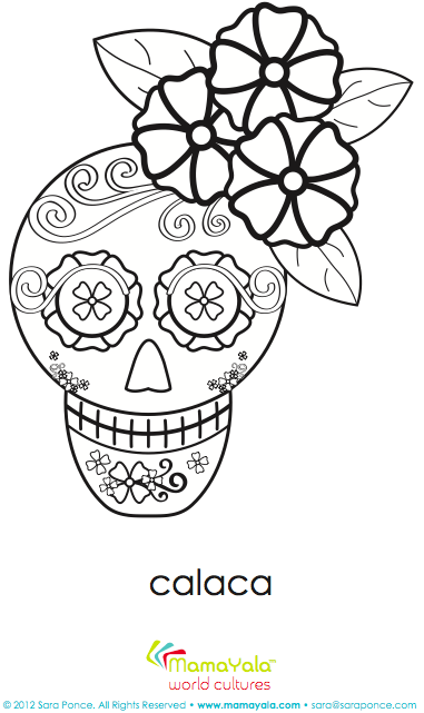 Super cute Day of the Dead girl calaca coloring sheet