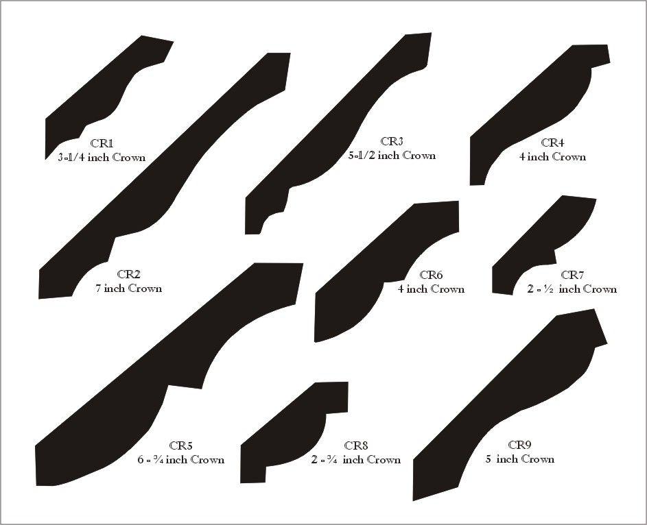 Crown Mouldings: 3 1/4 iinch, 7 inch, 6 3/4 inch, 5 1/2