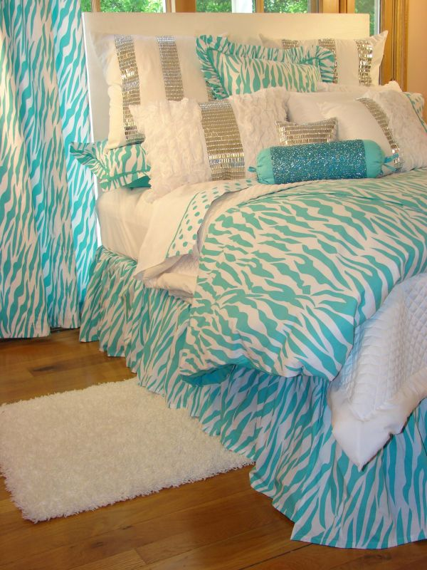 Tween Teen Bedding Turquoise Zebra Glamour Collection - Sweet And Sour Kids Home